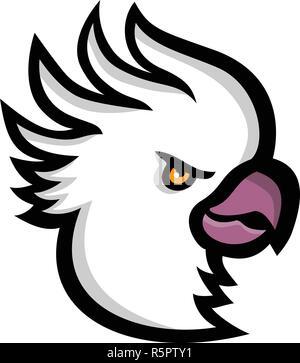 Icona di mascotte illustrazione della testa di zolfo-crested cockatoo, una grande white cockatoo trovati in Australia e in Nuova Guinea visto dal lato su isolato Immagini Stock