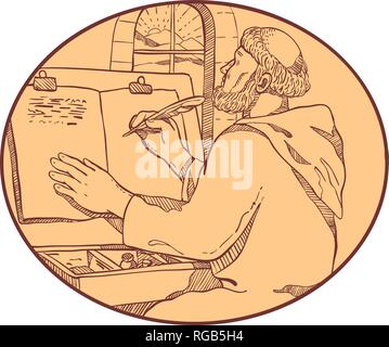 Disegno stile sketch illustrazione di un graffietto monastica o monaco medioevale iscritto manoscritto illuminato all'interno di comunità monastero o scriptorium impostato in Immagini Stock