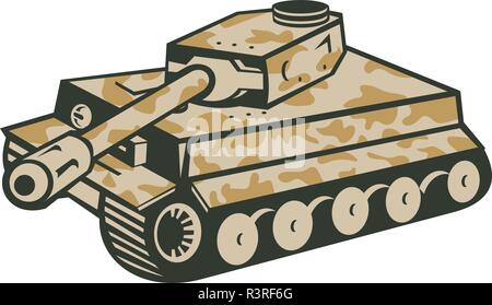 In stile retrò illustrazione del tedesco seconda guerra mondiale mimetizzata panzer serbatoio battaglia puntando il suo cannone verso il lato su sfondo isolato. Immagini Stock