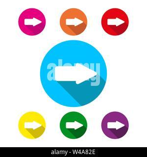 Icona della freccia a destra con lunga ombra, semplice design piatto Immagini Stock