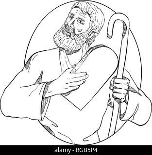 Schizzo di disegno illustrazione dello stile di Mosè, un profeta in religioni abramitiche tenendo i Dieci Comandamenti tablet e il suo personale interno ovale sul Immagini Stock