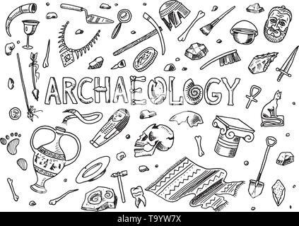 Set di strumenti di archeologia, scienza attrezzature, artefatti. Rinvenuti fossili e ossa antiche. Disegnata a mano Doodle sketch stile. Immagini Stock