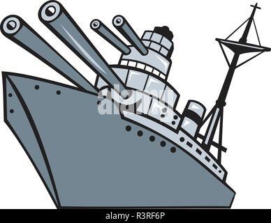 Lo stile del fumetto illustrazione di una guerra mondiale due corazzata, cruiser o distruttore con grandi pistole o cannoni vista dal basso angolo isolato su sfondo. Immagini Stock