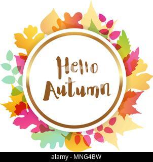 Luminose autunno astratto banner con foglie che cadono. Ciao autunno lettering. Immagini Stock