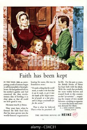 Pubblicità per Heinz, dal Festival della Gran Bretagna guida, pubblicato da HMSO. Londra, UK, 1951 Immagini Stock