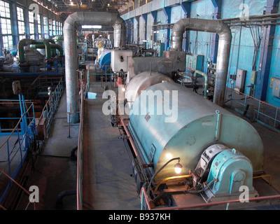 La sala della turbina in corrispondenza di una centrale termoelettrica a Ulan Ude Immagini Stock