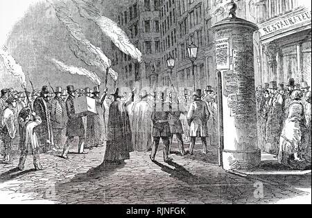 Una incisione raffigurante una scena durante la Rivoluzione Francese del febbraio 1848. Datata del XIX secolo Immagini Stock