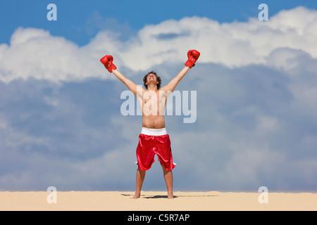 Un boxer celebrando in cima al mondo. Immagini Stock