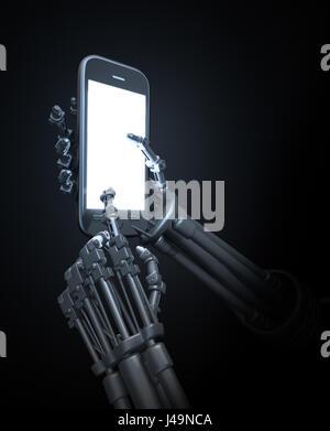 Robot in possesso di un telefono cellulare - 3d illustrazione Immagini Stock
