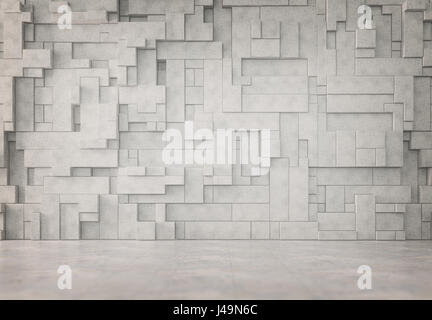 Abstract interno con una parete 3D pattern Immagini Stock