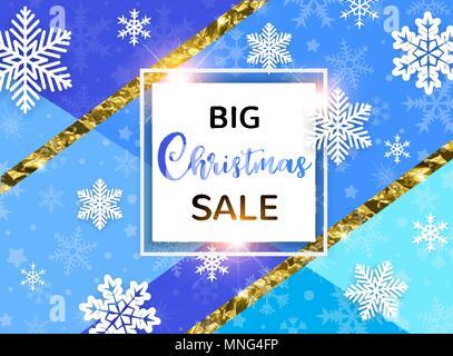 Abstract sfondo vettoriale stagionale per vendita di Natale. Fiocchi di neve bianca su sfondo blu. Immagini Stock