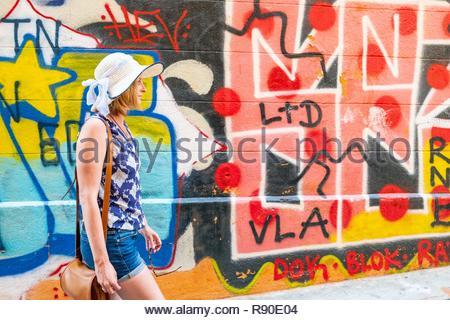 Francia, Bouches du Rhone, Marsiglia, il quartiere Panier, Arte di strada Immagini Stock