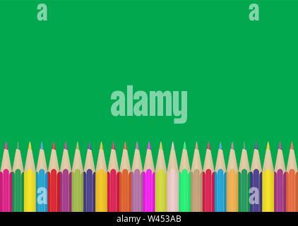 Set di matite colorate sul bordo di sfondo verde . Illustrazione per la progettazione e la decorazione dei bambini e le foto della scuola. Immagini Stock