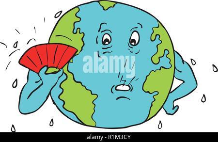 Schizzo di disegno illustrazione dello stile del pianeta terra con ventola fanning stesso per conservare al fresco a causa del riscaldamento globale isolato su sfondo bianco. Immagini Stock