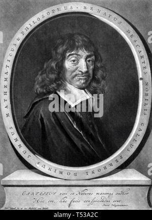 RENÉ DESCARTES (650) filosofo e matematico francese Immagini Stock
