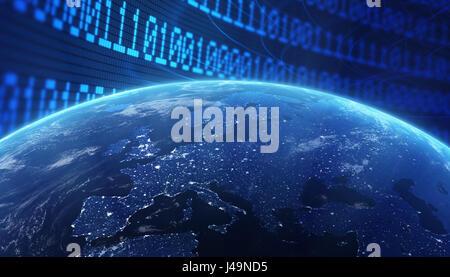 Mondo con un codice binario di sfondo - concetto internet 3d illustrazione Immagini Stock