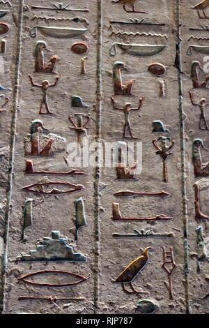 Tomba di Ramesse III Faraone del ventesimo Dynasty nell antico Egitto. regnò dal 1186 al 1155 A.C. ed è considerata essere l'ultimo monarca del nuovo regno di esercitare alcuna sostanziale autorità sopra l'Egitto. Tomba KV11 è situato nella valle principale della Valle dei Re. La tomba è stata aperta fin dall'antichità ed è stata variamente nota come Bruce la tomba (chiamato dopo James Bruce che ha immesso la tomba nel 1768) e la Harper's tomba (a causa di dipinti di due ciechi harpers nella tomba). Immagini Stock