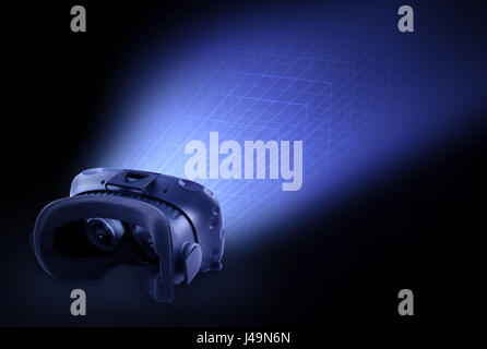 HTC Vive VR cuffie - Vapore auricolare VR concetto illustrazione Immagini Stock