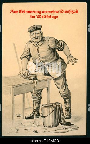 """In Germania, in Sassonia, Königsbrück, WW I, propaganda, patriottica artista cartolina con il testo: """"Zur Erinnerung an meine Dienstzeit im Weltkriege' (in memoria del mio servizio in WW I), e vi è inoltre s disegno di un soldato di pulizia di una tabella (barrack servizio in camera), l'artista era K. Hànsel, cartolina è stato inviato 23. 02. 1916. , Additional-Rights-Clearance-Info-Not-Available Immagini Stock"""