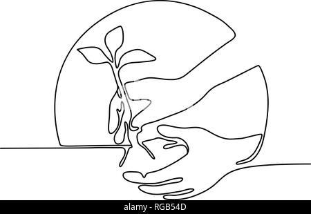 Linea continua illustrazione di una mano di piantare un albero piantina imposta all'interno di forma circolare realizzato in stile monolinea in bianco e nero. Immagini Stock