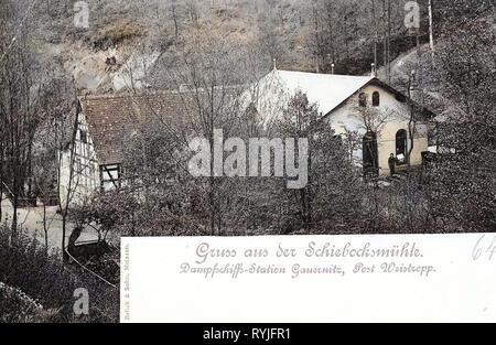 Mulini a Meißen, 1898, Meißen, Schiebocksmühle, Germania Immagini Stock