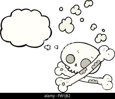 Disegnate a mano libera bolle di pensiero cartoon vecchia pila di ossa Immagini Stock