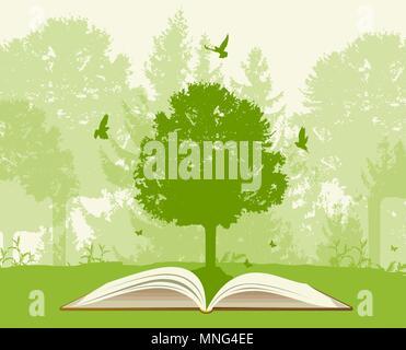 Libro aperto con albero verde e uccelli. Concetto di ecologia. Immagini Stock