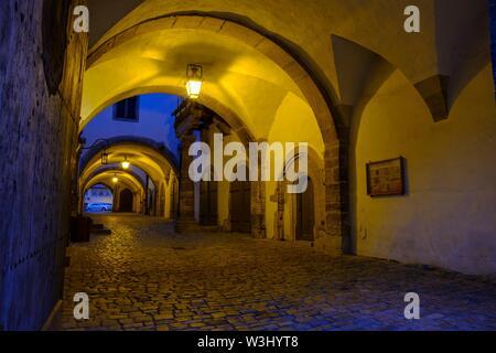 La storia archivio nel municipio, al tramonto, Rothenburg ob der Tauber, Media Franconia, Franconia, Baviera, Germania Immagini Stock