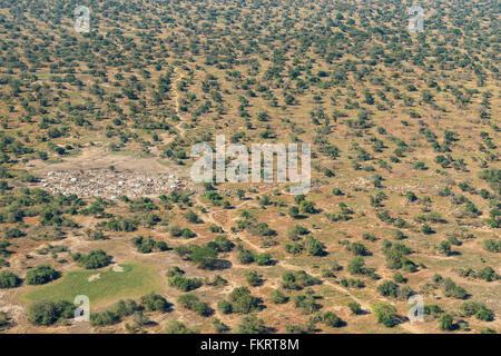 Vista aerea del bestiame Dinka camp vicino Mingkaman, Sud Sudan. Immagini Stock