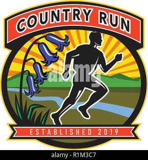 Icona di stile retrò illustrazione di un maratoneta con bluebells, sul fiume di montagna e sole insieme all'interno ovale con parole paese eseguire stabilito 2019 su Immagini Stock