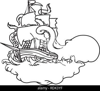 Doodle arte illustrazione di un kraken, un leggendario di cefalopodi come il gigantesco mostro marino che attacca una nave a vela con i suoi tentacoli sul mare con tumultuosi Immagini Stock