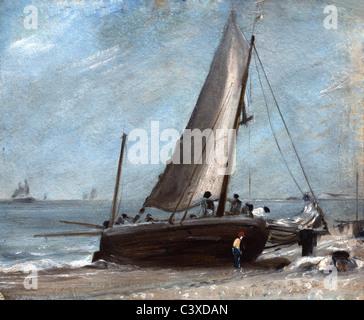 La spiaggia di Brighton con la barca da pesca e la troupe di John Constable. Brighton, Inghilterra, all'inizio Immagini Stock