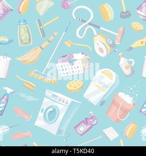 Strumenti di pulizia seamless pattern. Casa sfondo icone. Macchina di lavaggio, detergenti detergente, secchio di acqua per spandimento, prodotti chimici Apparecchi per Immagini Stock