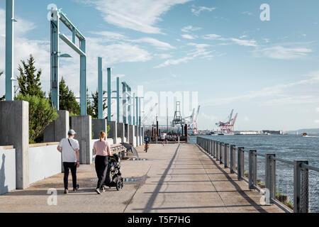 La passeggiata lungo il perimetro del Molo 3. Ponte di Brooklyn Park Pier 3, Brooklyn, Stati Uniti. Architetto: Michael Van Valkenburgh, 2018. Immagini Stock
