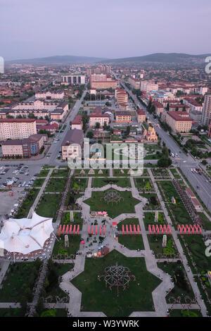 Vista aerea del Parco Tsvetochny a Grozny la capitale della Cecenia ufficialmente la Repubblica cecena nel Nord Caucaso Distretto federale della Russia. Immagini Stock