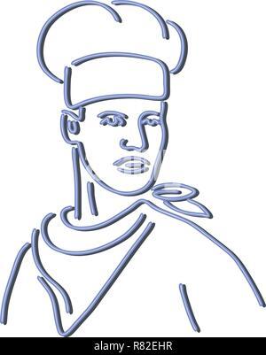 In stile retrò illustrazione mostrante una degli anni novanta insegna al neon luce di illuminazione di segnaletica di uno chef, baker o cucinare indossando un cappello e sciarpa guardando al lato su b isolate Immagini Stock