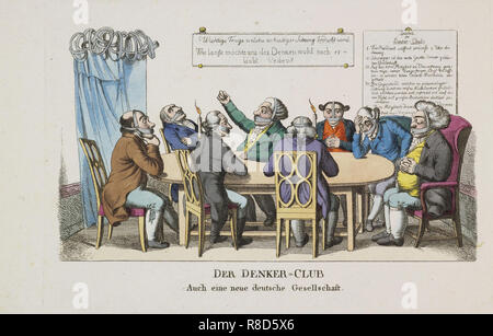 Il Club di pensatori, ca 1820. Collezione privata. Immagini Stock