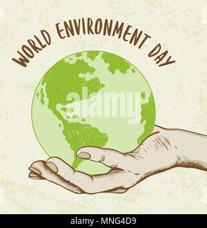Lo sfondo con il pianeta Terra in mano umana. Concetto di ecologia per la Giornata mondiale dell'ambiente. Immagini Stock