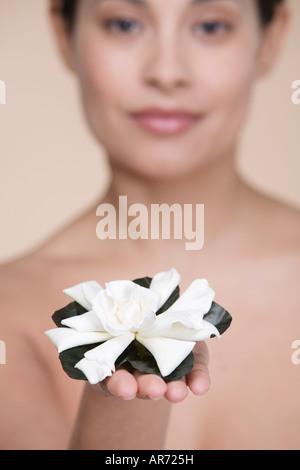 Donna offrendo fiore Immagini Stock
