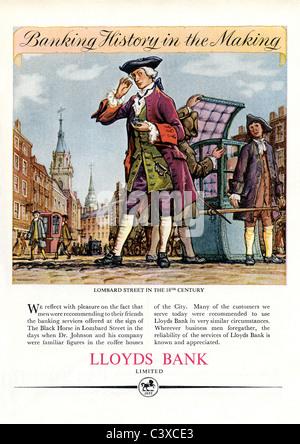 Pubblicità per la Lloyds Bank, dal Festival della Gran Bretagna guida, pubblicato da HMSO. Londra, UK, 1951 Immagini Stock