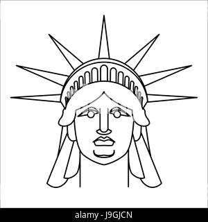 Testa Della Statua Della Liberta Icona In Stile Cartoon Immagine E Vettoriale Alamy