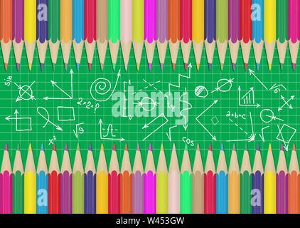 Set di matite colorate sui bordi del consiglio scolastico con diagrammi e formule. Illustrazione per la progettazione e la decorazione dei bambini della scuola e pi Immagini Stock