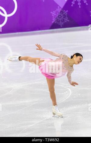 Satoko Miyahara (JPN) competere nel pattinaggio di figura - Ladies' breve presso i Giochi Olimpici Invernali PyeongChang 2018 Immagini Stock