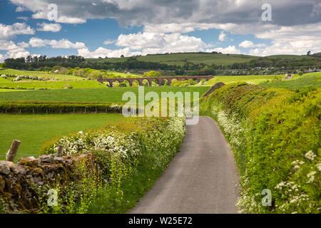 Regno Unito, Cumbria, York, Howgill, Beck piedi viadotto di Ingleton linea di ramificazione e M6 in distanza, da lane a Lowgill Immagini Stock