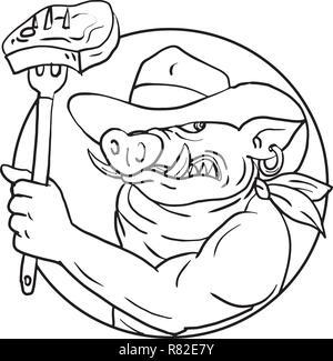 Schizzo di disegno illustrazione dello stile di un cowboy di cinghiale, di maiale o di cinghiale tenendo una forcella con barbecue steak impostato all'interno del cerchio su isolati backgr bianco Immagini Stock