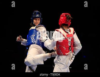 Manchester, Regno Unito. Il 19 maggio 2019. Taekwondo Campionati del mondo; Irem Yaman (TUR) sul suo modo di vincere la -62kg del campionato del mondo di Final Bout contro Caroline Santos (BRA) Credit: Azione Plus immagini di sport/Alamy Live News Immagini Stock