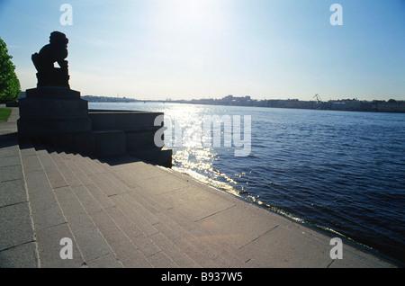 Scultura di Manchurian lion Shi Tzsa sulla banca del fiume Neva a San Pietroburgo Immagini Stock