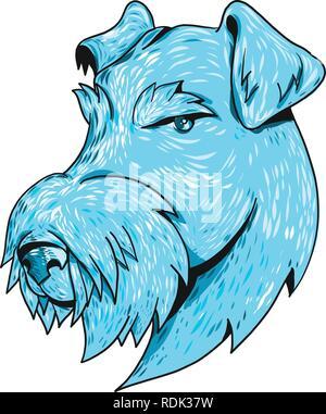 Schizzo di disegno stile testa illustrazione di un Airedale Terrier, Bingley Terrier o Waterside Terrier, il più grande di tutti i terrier noto anche come ÒKin Immagini Stock