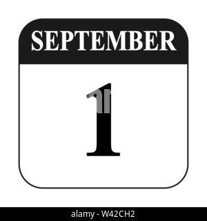 Foglio di calendario con data 1 settembre design piatto. Immagini Stock