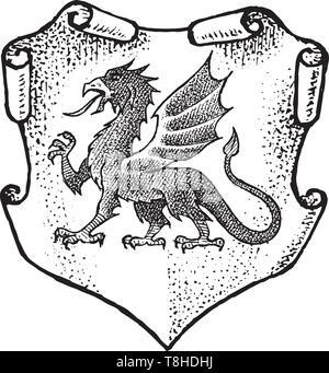 Per animale araldico in stile vintage. Inciso lo stemma con Dragon, mitica creatura. Emblemi medievale e il logo del regno fantasy. Immagini Stock